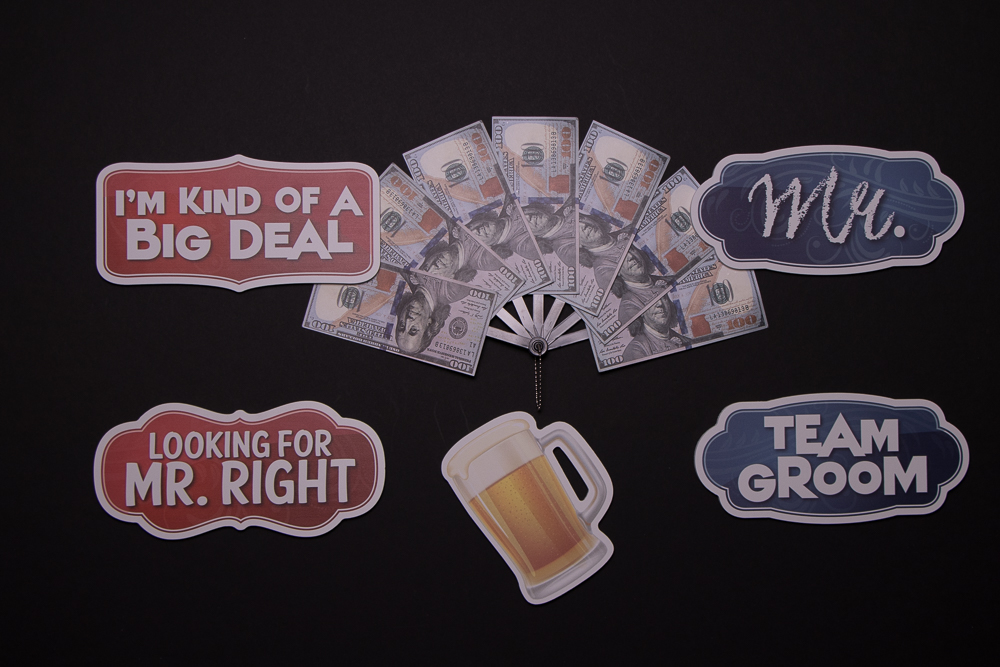 Wedding Sign Package Of Five Signs and A Beer Mug, They are: I'm Kind Of A Big Deal, $500 Dollars, Mr, Looking For Mr Right, Beer Mug, Team Groom