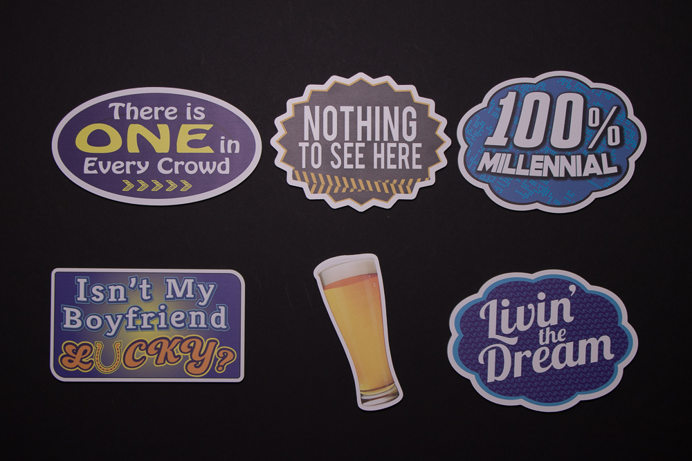 Party Sign Package Of Five Signs and A Beer Glass, They are: There Is One In Every Crowd, Nothing To See Here, 100% Millennial, Isn't My Boyfriend Lucky?, Beer Glass, Living The Dream