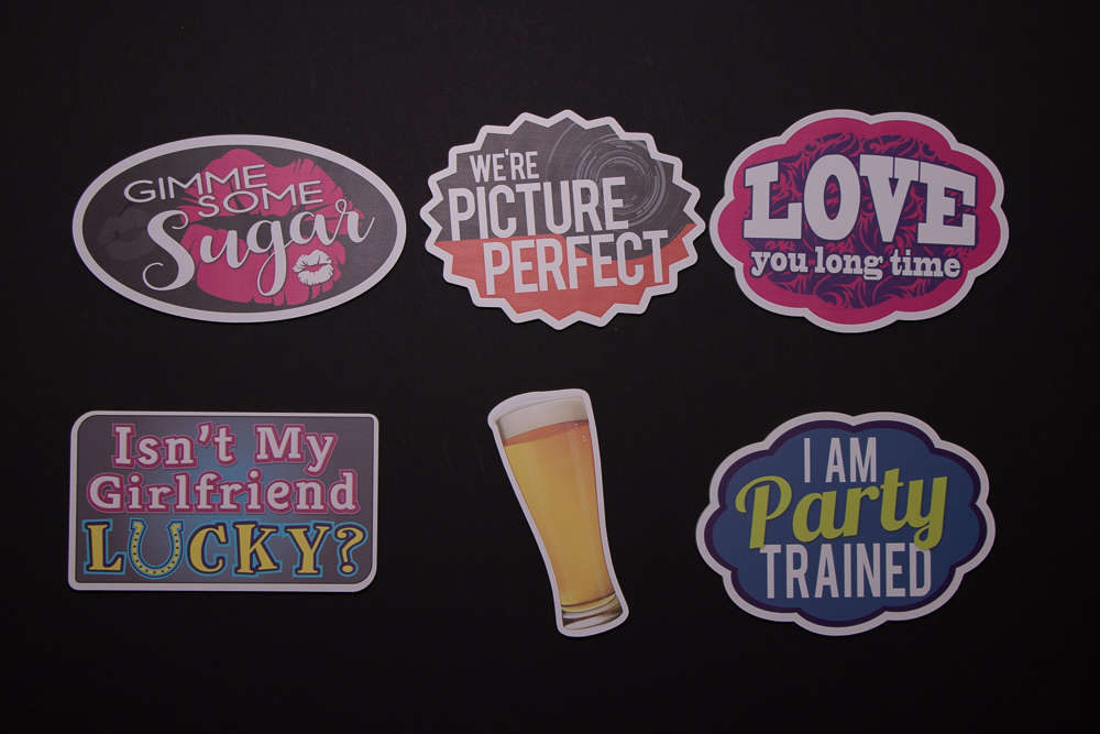Party Sign Package Of Five Signs and A Beer Glass, They are: Gimme Some Sugar, We're Picture Perfect, Love You Long Time, Isn't My Girlfriend Lucky?, Beer Glass, I Am Party Trained