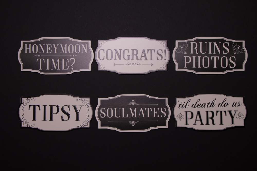 Wedding Sign Package has six signs, they are: Honeymoon Time, Congrats, Ruins Photos, Tipsy, Soulmates, Until Death Do Us Party