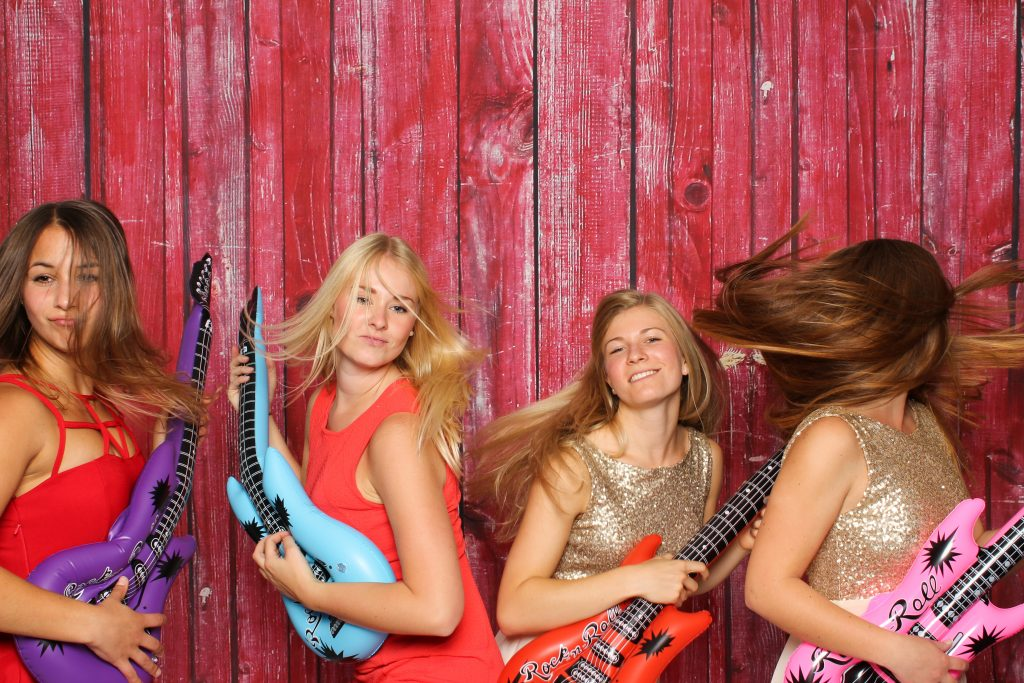 Photo Booth Fun - Girls With Guitars - Hair Band Style
